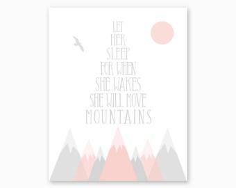 PINK GRAY NURSERY, Nursery Printable, Girl Nursery Art, Girl Nursery Decor, Mountains Nursery, She Will Move Mountains, Instant Download