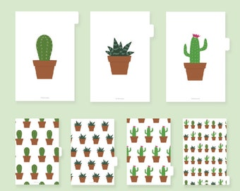 Planner Dividers Printable, Tabs, Inserts, A5, Divider, Tabbed dividers, Filofax, Kikki.K, index, accessories, tabs, pdf, cactus