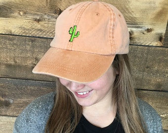 Embroidered cactus dad hat
