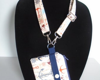 ID coin purse with adjustable/extendable neck lanyard, Zipper pouch, ID wallet, Clear pocket, Anchors/Nautical, Key chain, Handmade
