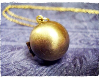 Round Gold Ball Locket Necklace - Antique Brass Round Ball Locket on a Delicate Gold Plated Cable Chain or Locket Only