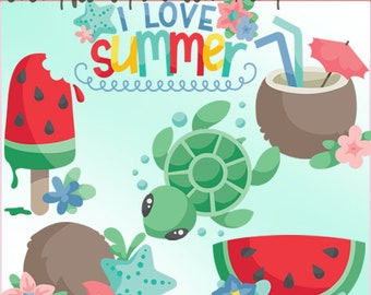 Coconuts and Watermelon Clipart -Personal and Limited Commercial - sea turtle, cute summer clip art