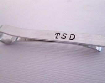 Personalized Men's Tie Bar - Monogramed Tie Clip - Hand Stamped Tie Clip - Aluminum Tie Bar - Groomsmen Tie Bar