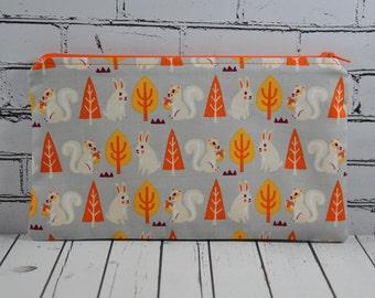 Squirrel Rabbit Pencil Case, Cute Squirrel Zip Pouch, Crochet Hook Bag, Squirrel and Bunny Pencil Bag