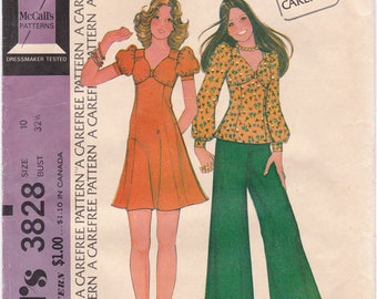 "FF McCalls 3828, 1970s High Waisted Dress or Top with Puffed Sleeves Vintage Sewing Pattern,  Size 10, Bust 32 1/2"", UNCUT"