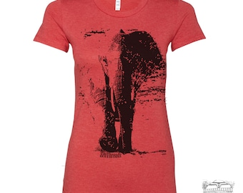 Womens ELEPHANT T-Shirt -hand screen printed  s m l xl xxl (+ Colors Available) custom