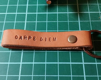Leather CARPE DIEM Keyring Keychain