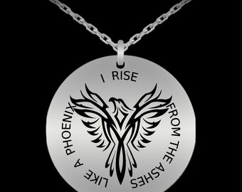 Phoenix bird necklace pendant jewelry - Laser engraved Stainless steel him her male female man woman men women people for guy lady girl
