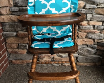 High Chair Cover. High chair pad. high chair cushion. wooden high chair pad. highchair cushion. highchair pad. vintage