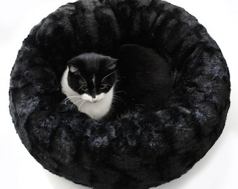 Unique black cat bed, small dog bed donut, pet bed BIG BEAR, pink or blue cushion, pet furniture, pet bed, round cat bed, faux fur cat bad