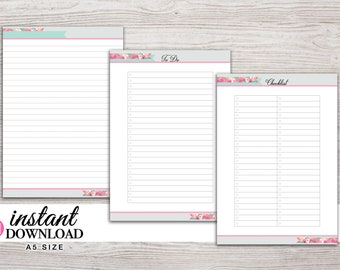A5 Planner Printable - Notes / Lists - Inserts - Filofax A5 - Kikki K Large - LV GM - Design: Flirty Girl