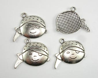 Girl Head Charms, Girl Head Pendant, Zinc Alloy, Antique Silver Tone, 27x21 mm, 10 pcs, Hole 2mm (006873023)