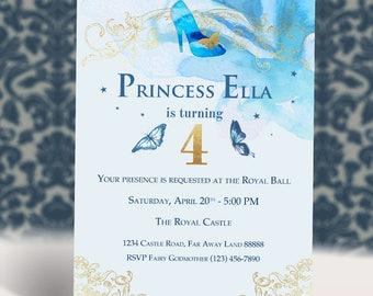 Princess Cinderella Ball Birthday Invitation   Blue Butterflies Enchanted Glass Slipper    Girl Party   Digital Printable Invitation