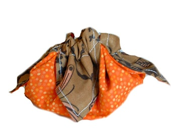 Lotus bag, Drawstring gift pouch, Homemade coin purse, Butterfly pouch, Orange Polka dot pouch, Gift bag