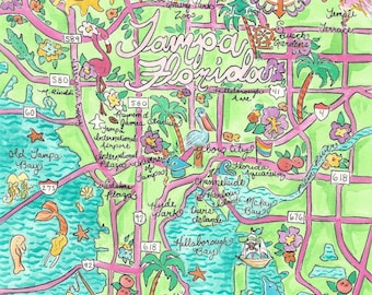 Watercolor print Illustrated Map of Tampa, Florida