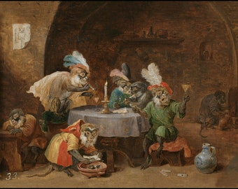 Smoking and Drinking Monkeys - David Teniers - Flemish painter - animals as humans - Monkey party - Monkey tavern - anthropomorphic monkeys
