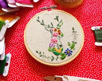 Autumn Florals & Deer Hand Embroidery Pattern, DIY Holiday Embroidery Pattern, PDF Pattern, Flower Embroidery Pattern, Hoop Art