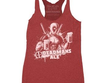 Deadpool Shirt - Womens Deadpool Tank - Deadpool Beer T Shirt - Deadpools Deadmans Ale Hand Screen Printed on a Womens Tank Top
