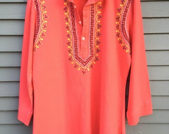 70's Embroidered Tunic Blouse Top BOHO Bohemian