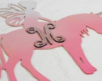 Unicorn Fairy with Single Letter Monogram, Painted Unicorn, Blank, Monogram, Unicorn, Fairy, Fairy Garden, Kid's Room, Little Girl