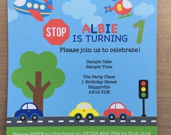 Printable Car Party Invite, Boys Birthday Party Invite, Car Party Invitation, Transportation Party, Transport Party Theme, Car Party