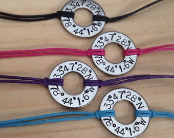 Coordinates washer bracelet, stainless steel washer bracelet, custom hand stamped longitude & latitude