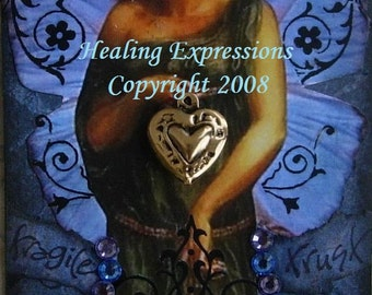 FRAGILE TRUST aceo atc print wings heart altered art therapy survivor abuse recovery collage