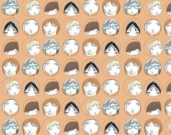 Children's Room Fabric - Fun Kids Fabric - Fabric Quarter - Peep Hole Portraits  - Fabric Fat Quarter
