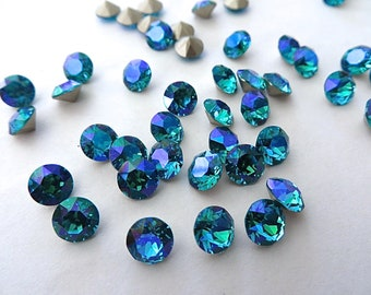 12 Blue Zircon Glacier Blue Foiled Swarovski Crystal Chaton Stone 1088 29ss 6mm