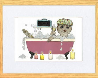"MeerKat Wine & Pamper Picture Oak Framed Print Bathtime Art Kevin Wood ""Meerkat Man"""