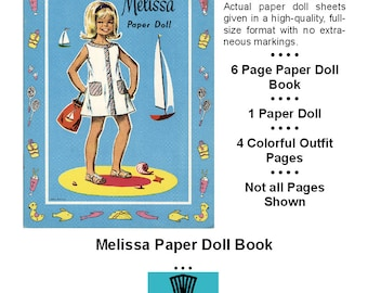 Vintage Paper Dolls _ Melissa Paper Doll _ Paper Toy _ Paper Craft _ Collage Sheet _ PDF _ Digital Download + BONUS How-to Guide