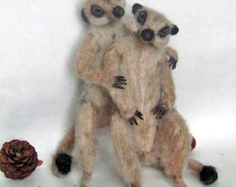 Made to order- Needle felted PoseableLife sized  Meerkat Couple,  handmade animal wool woodland wildlife