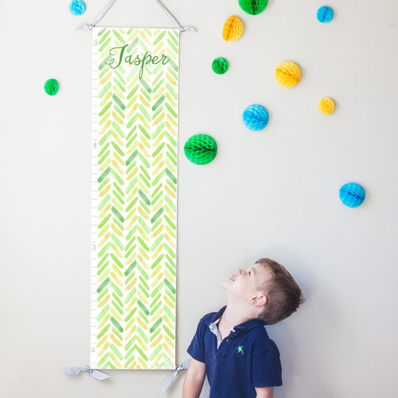 Personalized Green and Yellow Watercolor Chevron Growth Chart