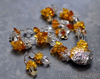 Gemstone jewelry Amber Rock Crystal Clear Quartz silver gold necklace and earrings set Amber jewelry fine silver pmc pendant - Ice and Fire