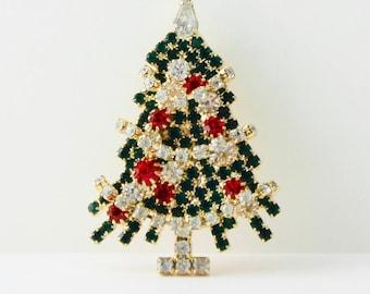 Rhinestone Christmas Tree Brooch Pin Movable Garland
