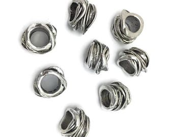 8  tibetan sylte wire wrap   look antique silver large hole  bead  15 mm  8 mm hole l