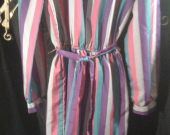 Vintage 1980's Periwinkle Brand Striped Retro Dress