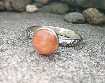 Sterling Silver Sunstone Ring - Peach -Sunstone Jewelry - Genuine Sunstone Gemstone Ring - Sunstone Ring for Women