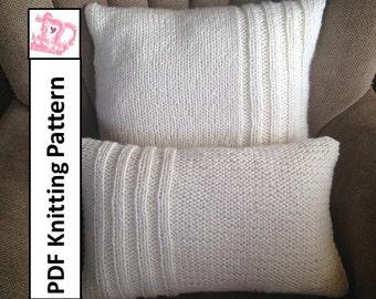 "PDF KNITTING PATTERN, Chunky knit Pillow Cover pattern, Rib Panel 12""x20"" and 20""x20""  -"