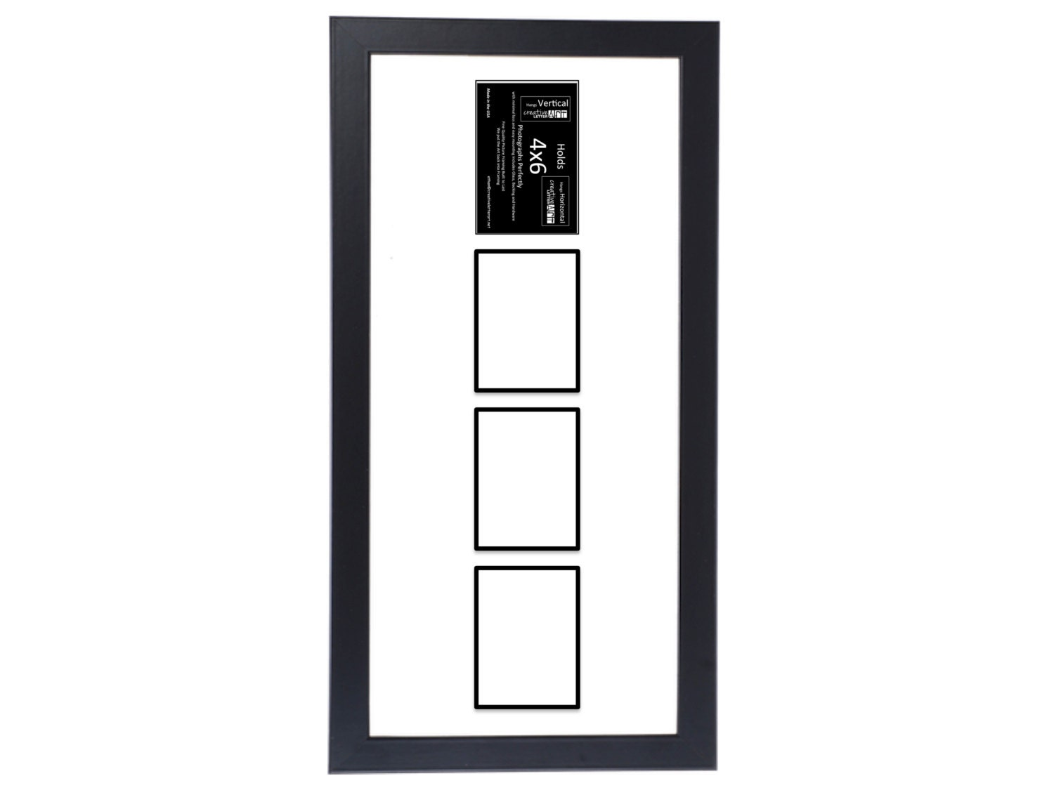 4x6 Vertical Multiple 2 3 4 5 6 Opening Black Picture Frame