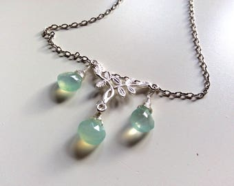 Jewellery, jewelry, necklace, chalcedony, leaf detail, sterling silver, semi precious, made in uk, Christmas, ladies gift