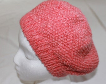 Womens Knit Hat - Womans Beanie Hat - Beret Style Slouchy Hat -  Bartlett Wool Tangerine Heather - Womens Med/Lg - Winter Accessories