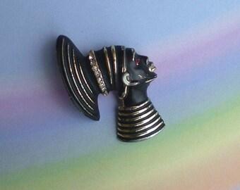 Vintage 50s Nubian Queen African Head Pin