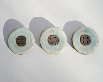 Set of 3 large ceramic  buttons, Light blue buttons, Handmade Stoneware Buttons, Sewing Supplies