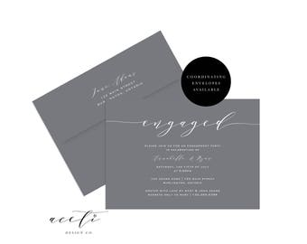 Calligraphed Engagement Invitation, We're Engaged Invite, Engagement Party Invitation, Rustic Engagement Party Invite, They're Engaged!