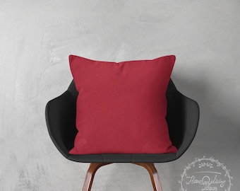 red throw pillow cover solid red pillow cover decorative pillow case red cotton cushion cover couch pillow farmhouse pillow SET OF 2