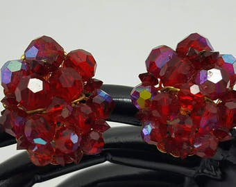 Beaded Red Crystal Earrings
