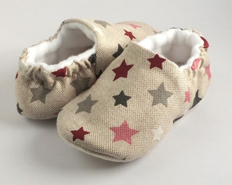twinkle twinkle pretty little stars. linen soft sole pre walker baby shoes