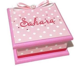Sweet Pink with White Spots Keepsake Box, Trinket Box, Treasure Box, Jewellery Box, Baby Box, Wooden Box, Personalised Box