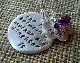 Mom Necklace, Mother Necklace, Love Between Mother Daughter Necklace, Hand Stamped Mother Gift, Daughter Gift with Swarovski Crystal Charms